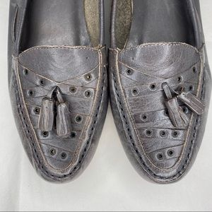 Vintage 80s tassel loafers, grey, size 8 NWT